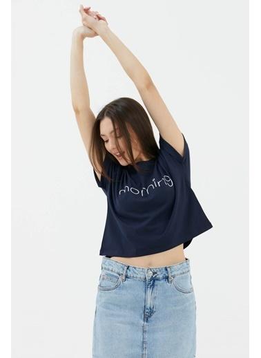 Sementa Baskılı Basic Kısa Tshirt - Lacivert Lacivert